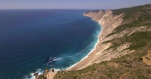Aerial view of famous Platia Ammos beach in Kefalonia stock footage