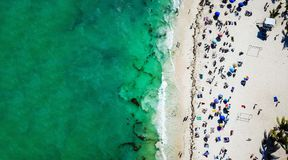 Aerial view of Playa del Carmen public beach in Quintana roo, Mexico. Aerial view of famous Playa del Carmen public beach in Quintana roo, Mexico Stock Photography