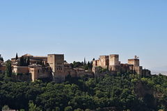 Aerial view of the famous Spanish structure La Alhambra in Granada, in Southern Spain royalty free stock photography