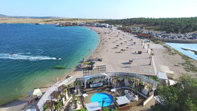 Aerial view of famous zrce beach of Pag island, Croatia. Aerial view of famous zrce party beach of Pag island, Croatia stock footage
