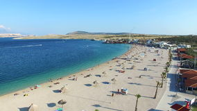 Aerial view of famous zrce beach of Pag island, Croatia stock footage