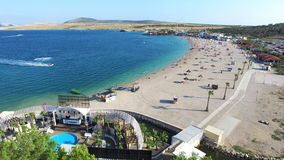 Aerial view of famous zrce beach of Pag island, Croatia stock video footage