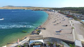 Aerial view of famous zrce beach of Pag island, Croatia. Aerial view of famous zrce party beach of Pag island, Croatia stock video footage