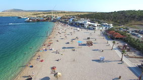 Aerial view of famous zrce party beach of Pag island in the morning, Croatia stock video footage