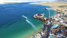 Aerial view of famous zrce party beach of Pag island in the morning, Croatia stock footage