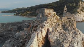 Aerial view of the famouse Church of Saint Peter in Porto Venere stock footage