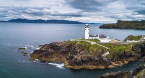 Aerial view of the Fanad Head Lighthouse in Ireland stock photography