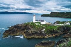 Aerial view of the Fanad Head Lighthouse in Ireland stock images
