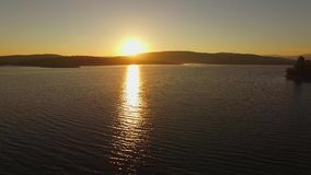AERIAL VIEW. Fantastic Sunset At Water Reservoir stock video footage