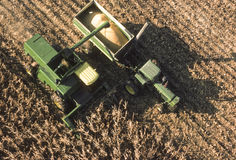 Aerial view of farm equipment in corn field_2 Royalty Free Stock Images