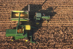 Aerial view of farm equipment in corn field Royalty Free Stock Photography