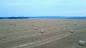 Farm field with hay bales. Aerial view of the farm field with hay bales during a summer stock video footage