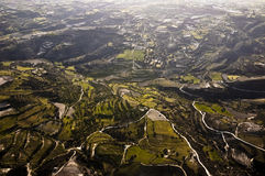 Aerial view of farm fields Stock Photo