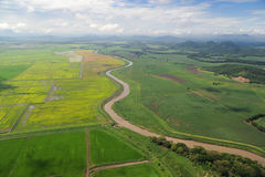 Aerial view of farm fields in Costa Rica Stock Image