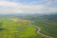 Aerial view of farm fields in Costa Rica Royalty Free Stock Photos