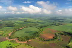 Aerial view of farm fields in Costa Rica Stock Photo