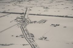 Aerial view of farm and road in winter. In Hokkaido, Japan Stock Photos
