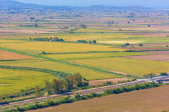 Aerial view of farming land field Royalty Free Stock Photo
