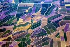 Aerial view of farming lands in California stock photos