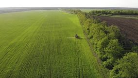 Aerial view of farming tractor spraying on field with sprayer, herbicides and pesticides at sunset. Farm machinery. Spraying insecticide to the green field stock video