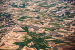 Aerial view of Farmland from airplane Royalty Free Stock Images