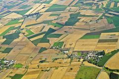 Aerial view. Of farmland area landscape from airplane - Central Poland Royalty Free Stock Photo