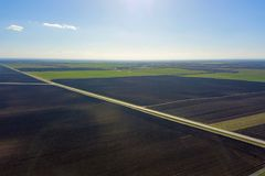 Aerial view of farmland Green Field. Aerial View Royalty Free Stock Image