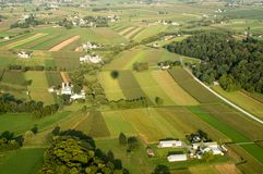 Farmland from Above. An aerial view of farmland in Lancaster County, Pennsylvania Royalty Free Stock Image