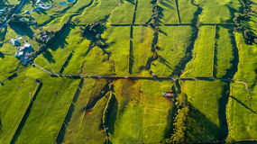 Aerial view on a farmland with stock paddocks at the foot of Mount Taranaki. Taranaki region, New Zealand Stock Images