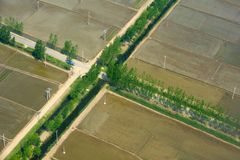 Aerial view of farmland Stock Images