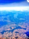 Aerial view of farmlands and lake in Europe Stock Image
