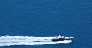 Aerial View Of A Fast Luxury Yacht Wake