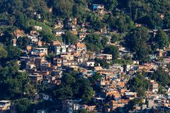 Aerial view of Favela da Rocinha, Biggest Slum in Brazil on the Two Brothers Mountain in Rio de Janeiro stock photo