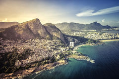 Aerial view of Favela Vigidal on the slopes of Dois Irmaos Mount Stock Photo