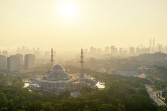 Aerial view of Federal Territory Mosque in Kuala Lumpur, Malaysia Royalty Free Stock Image
