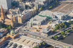 Aerial view of Federation Square and Melbourne cityscape stock photos