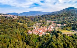Aerial view of Ferrera di Varese, is a small village located in the hills north of Varese. royalty free stock image