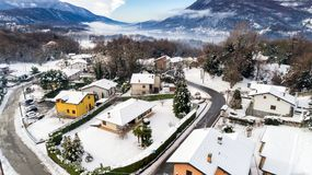Aerial view of the Ferrera di Varese winter landscape, is a small village located in the hills not of Varese. stock photos