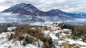 Aerial view of the Ferrera di Varese winter landscape, is a small village located in the hills not of Varese. royalty free stock photo