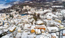 Aerial view of the Ferrera di Varese winter landscape, is a small village located in the hills not of Varese. royalty free stock image