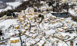 Aerial view of the Ferrera di Varese winter landscape, is a small village located in the hills not of Varese. royalty free stock photos