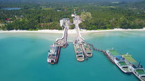Aerial view of ferry port in tropical country. Shot with a Sony a6300 fps29,97 4k stock footage