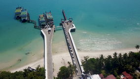 Aerial view of ferry port in tropical country stock footage