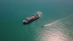 Aerial View of Ferry Sailing in Sea stock video footage
