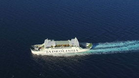 Aerial view of ferry sailing stock video footage