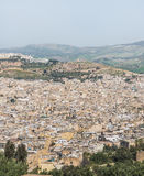 The aerial view of Fes city town in Morocco Stock Image