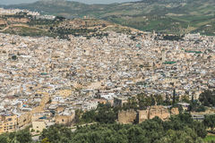 The aerial view of Fes city town in Morocco Royalty Free Stock Image