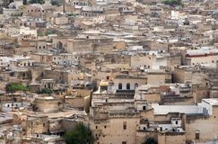 Aerial View of Fes el-Bali Quarter in Fes, Morocco Royalty Free Stock Photography