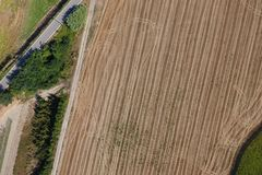 Aerial view of a field. After harvest Stock Photography