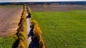 Aerial view of the field road. Aerial view Stock Images